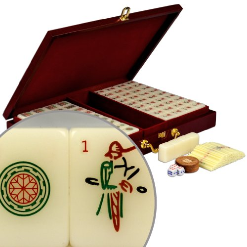 Standard Traditional Chinese Mahjong Game Set with Numbered Tiles and Wooden Case, ''Classic Set'' by Yellow Mountain Imports