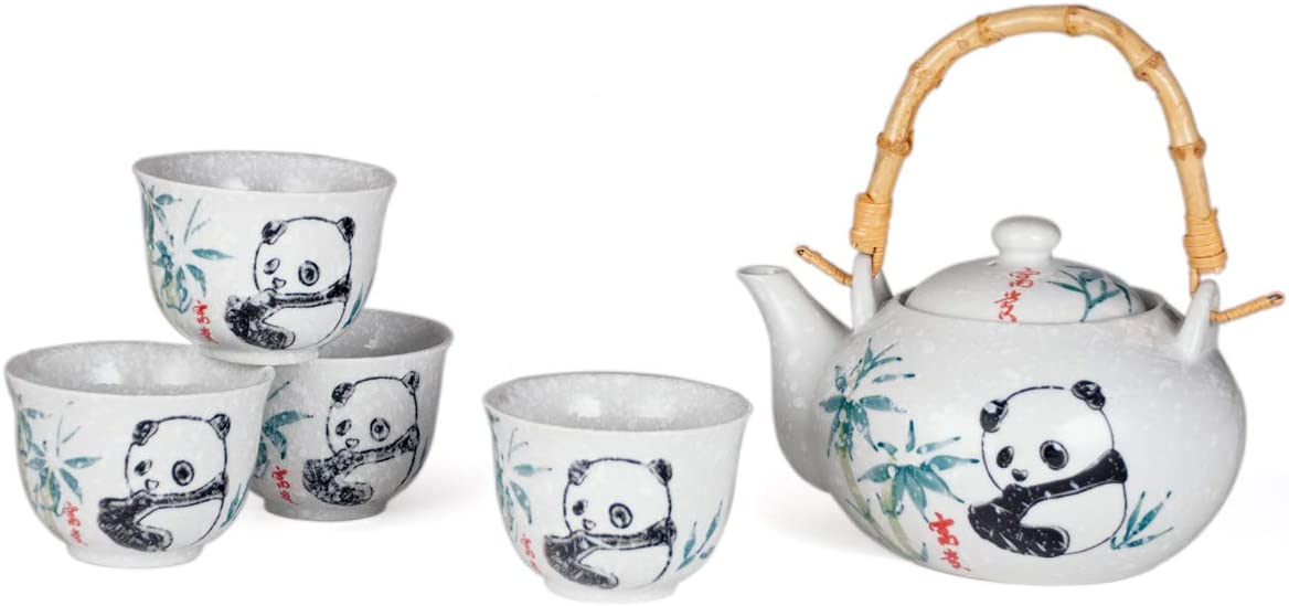 Hinomaru Collection Japanese Bamboo and Panda Design Ceramic Tea Pot and 4 Cups Tea Set Asian Home Decor
