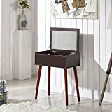 Small Bedroom Vanity GLS Dressing Table Makup Vanity Desk with Mirror and Solid Wood Legs Nut-brown
