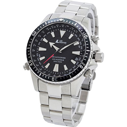 [LAD WEATHER] 200 Meters waterproof GPS diver's watch Sapphire Glass Divers/ (Retrograde Silver Dial)