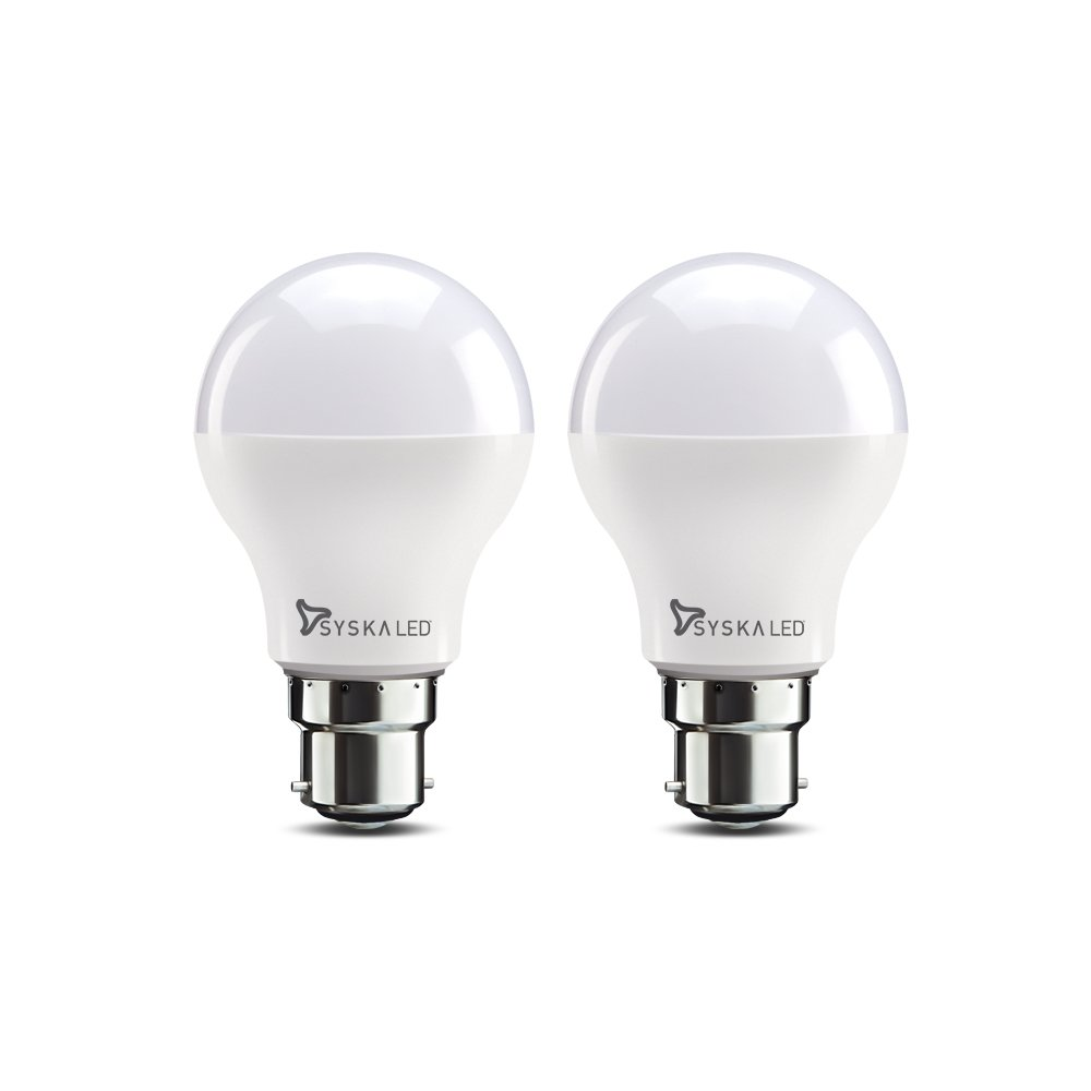 Syska base b22 9 watt led bulb pack of 2 cool day light