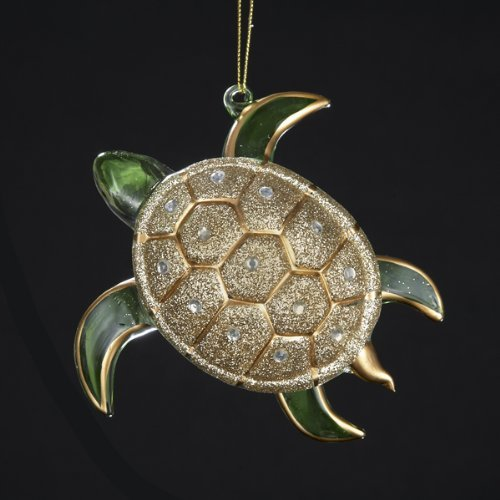 (Kurt Adler Glass Glitter Sea Turtle Ornament, 4.75-Inch, Gold/Silver)