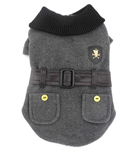 SMALLLEE_LUCKY_STORE Pet Clothes for Small Dog Cat Woolen Winter Coat Jacket with Faux Leather Belt Fall Clothing Grey (Winter Rabbit)