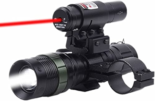 Higoo Tactical Red Laser Dot Sight LED Zoomable Flashlight with Rings Mount Combo for Rifle Shotgun