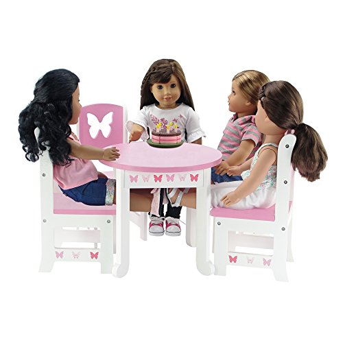 Emily Rose 18 Inch Doll Furniture | Lovely Pink and White Table and 4 Chair Value Pack Dining | Fits American Girl Dolls (Butterfly Theme) (American Girl Dolls Chair)