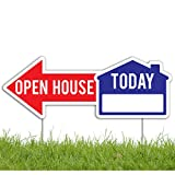 VictoryStore Outdoor Lawn Signs: Open House Directional Yard Signs - Two Sided - Two Stakes Per Sign - 22''x8'' (12)