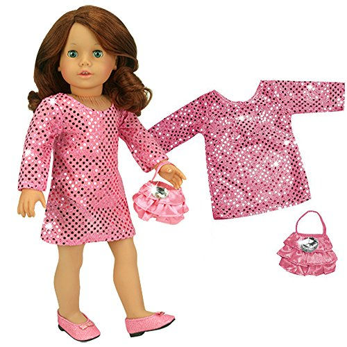 18 Inch Doll Clothes Dressy 2 Pc. Set fits American Girl Dolls, 18 Inch Doll Dress Set of Hi Fashion Pink Sequin Dress and Satin Doll Purse with Pink Ruffles & Jewel