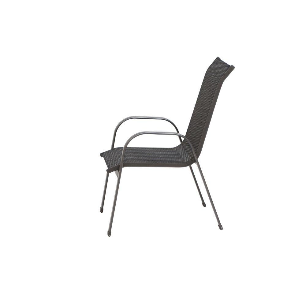 Siena Garden Stapelsessel Delphi, 74,5x55x95cm, Gestell  Aluminium, in anthrazit, anthrazit, anthrazit, Fläche  Ranotex-Gewebe in schwarz   silber cd0147