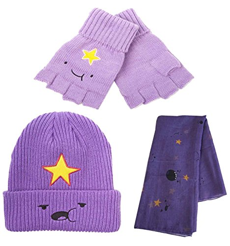 Adventure Time Beanie Hat Glove and Scarf Set Lumpy Space Princess (Adventure Time Lumpy Space Princess Costume)