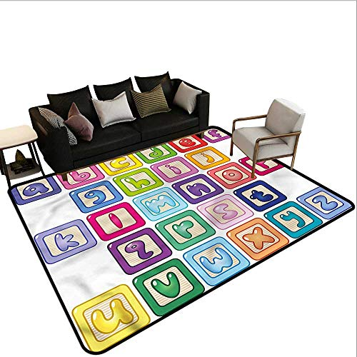 Blocks Contemporary Area Rug - Educational,Floor Mats for Living Room 80