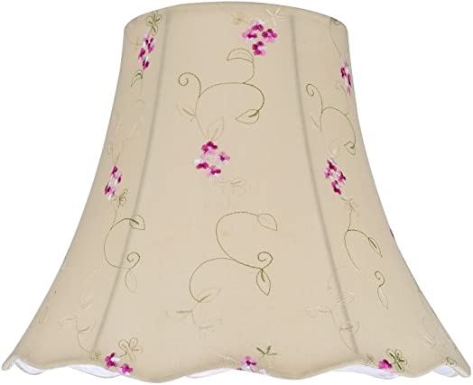 Aspen Creative 34036 Transitional Scallop Bell Shape Spider Construction Lamp Shade in Apricot, 14 wide 7 x 14 x 11 1 2