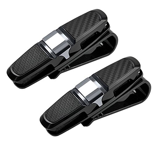 Bosmix 2Pack Glasses Holders for Car Sun Visor, Sunglass Visor Clip Car Sunglasses Eyeglasses Ticket Card Clip Holder, Sunglass Holder for Car, Car Glasses Holder for Your Sunglasses - Holder Visor Sunglass