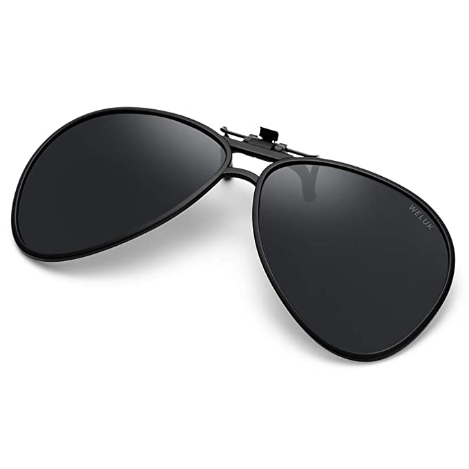 c5b93a59d055a Image Unavailable. Image not available for. Color  WELUK Polarized Clip-on Flip  up Sunglasses Aviator Style for Prescription Glasses