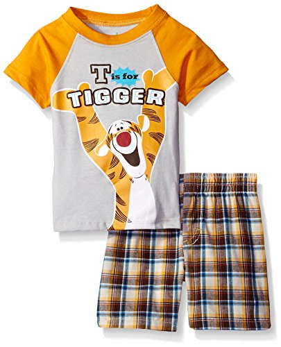 Disney Baby Boys' 2 Piece Tigger Plaid Short Set, Orange, 18m (Baby Tigger)