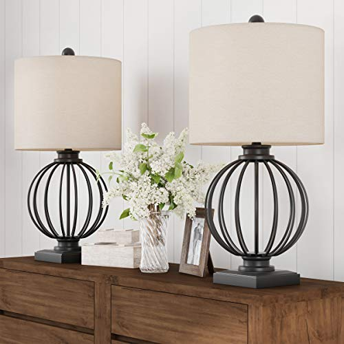 Lavish Home Table Lamps-Set of 2 Wrought Iron Open Cage Orb Lights Bulbs and Linen Shades Included-Modern Rustic for Any Home Décor