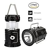 LED Camping Lantern - 2 Pack GT ROAD Solar Led Camping Lantern, Rechargeable Outdoor Led Flashlight