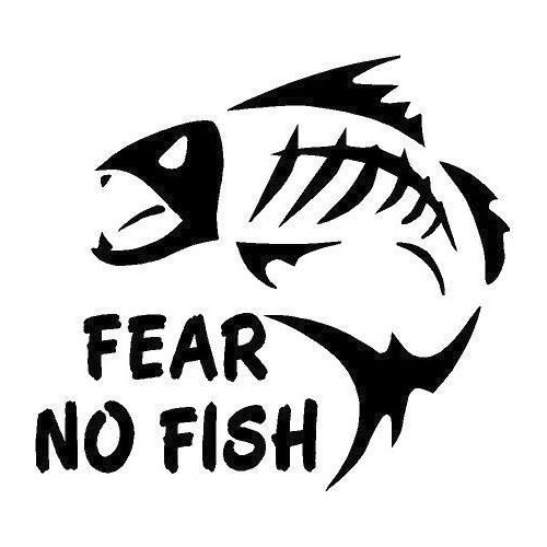 Fear No Fish Decal Vinyl Sticker|Cars Trucks Vans Walls Laptop| Black|5.5 x 5 in|CCI1378