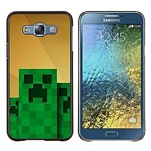 """Be-Star Único Patrón Plástico Duro Fundas Cover Cubre Hard Case Cover Para Samsung Galaxy E7 / SM-E700 ( Monstruo Verde Computer Game Character"""" )"""