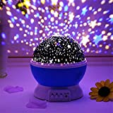 Homeeasy Plastic Glass Rotating 4 Mode Sky Star Master Mini Projector Lamp for Kid's Room Décor, Moonlight (Assorted Colour)