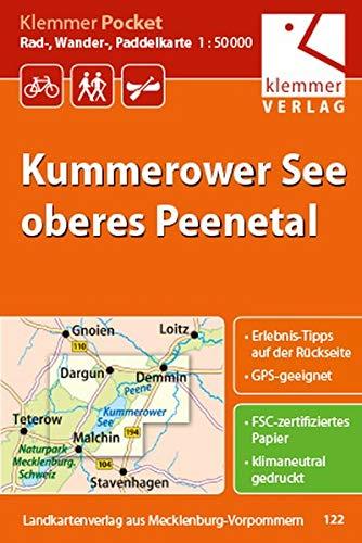 Klemmer Pocket Rad-, Wander- und Paddelkarte Kummerower See – oberes Peenetal: GPS geeignet, Erlebnis-Tipps auf der Rückseite, 1:50000
