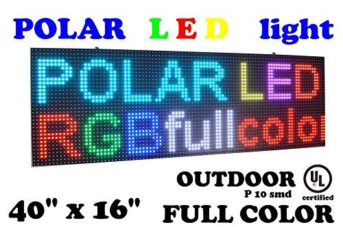 LED RGB color sign 40'' x 16'' for OUTDOOR use with high resolution P10 and new SMD technology. FAST free sending with UPS by POLAR light