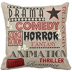 TAShermanStore 18 x 18 Inches Decorative Cotton Linen Square Throw Pillow Case Cushion Cover Movie Theater Cinema Genre ticket Design