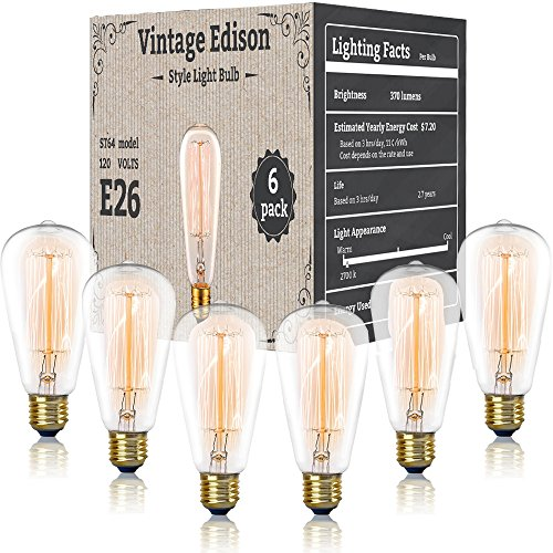 Vintage Antique Edison Style Bulbs - 6 Pack - 120 Volts / 60 Watts - Incandescent Clear Dimmable Exposed Filament - 370 Lumens - E26 / E27 Base Pendant Lighting (Squirrel - Incandescent Pendant Clear