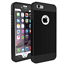 iPhone SE Case, iPhone 5S Case,i-Dawn Tough Armor Hybrid Shockproof Full-body Protective Phone Case Cover with Built-in Screen Protector for iPhone 5/5S/SE (Black)