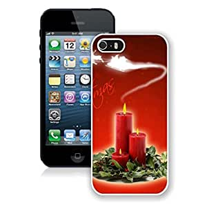 Iphone 5s Case,Christmas Candles In Leaves White Case For Iphone 5 5S Protective Case