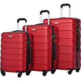 Merax Luggage Set 3 Piece Lightweight Spinner Suitcase (Red)