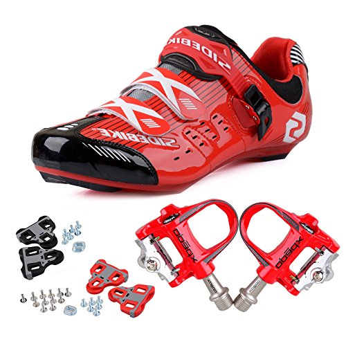 KUKOME Men's Women's Road Cycling shoes & Pedals(BR + Red,EU46/Ft29cm) (Road Cromoly Pedal)