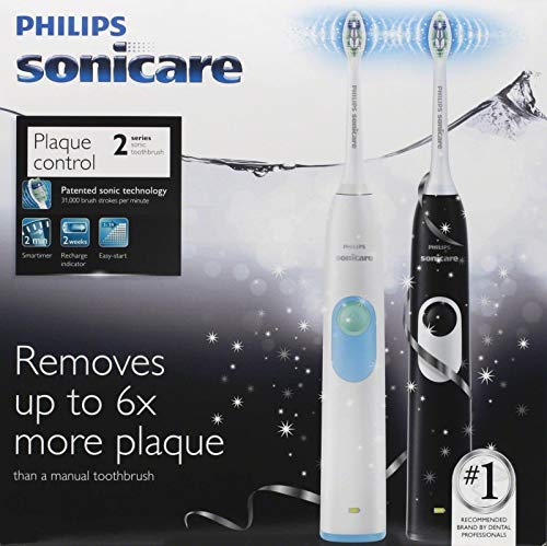 Philips Sonicare 2 Series Plaque Control Dual Handle Electric Twin Pack (Black +White)
