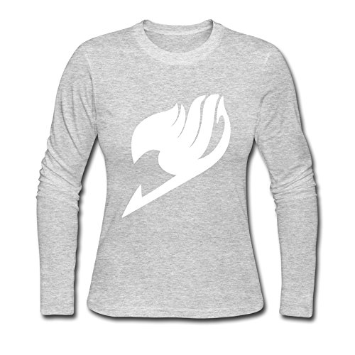 JeFF Women's Fairy Tail Logo O-neck Long Sleeve T-shirt Gray XX-Large (US (Hockey Halloween Blue Jackets)