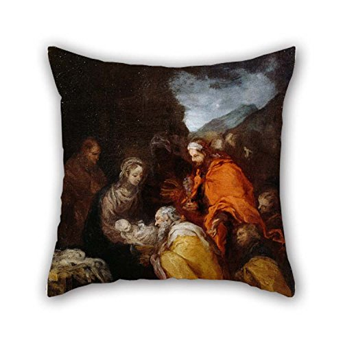 (18 X 18 Inches / 45 by 45 cm Oil Painting Murillo, Bartolom?? Est??ban - Adoration of The Magi Throw Pillow Covers Each Side is Fit for Festival Lounge Living Room Girls Kids Lounge)