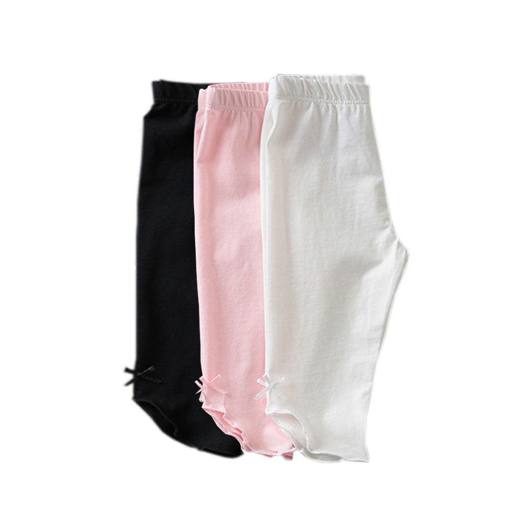 KIDS BRON Cotton Capri Crop Summer Leggings for School Or Play (3-Packs) (3T/Toddler Girl, 3pk-Capri BWP)