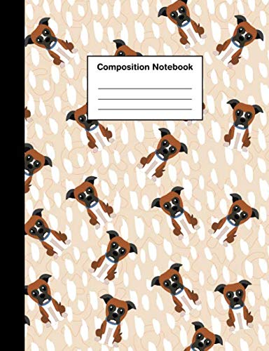 Composition Notebook: Wide Ruled Cute Boxer Dog Puppy | Lined Journal for Boys & Girls Teens, Kids Students for Home, School or College