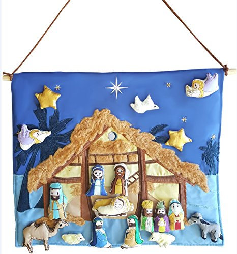 et - Interactive Fabric Nativity Scene Wall Hanging with Plush Moveable Figures by Mistletoe Mill ()