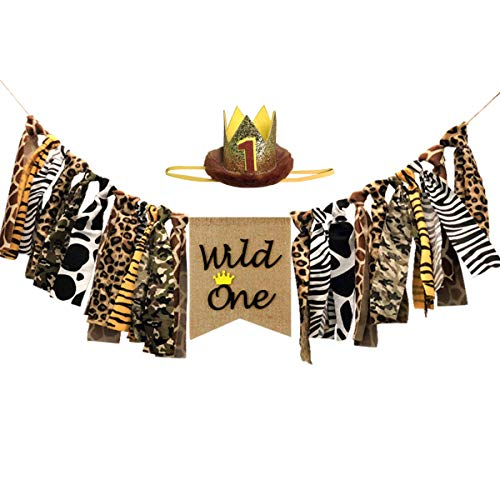 (Wild One Highchair Banner, Wild One Baby Crown, High Chair Banner With Crown For Kids 1st Birthday Party Decorations,Safari Zoo Jungle Themed 1st Birthday Party Decorations.)