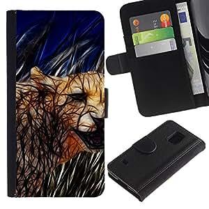 For Samsung Galaxy S5 V SM-G900 Case , Cat Cougar Feline Nature Wild Animal - la tarjeta de Crédito Slots PU Funda de cuero Monedero caso cubierta de piel
