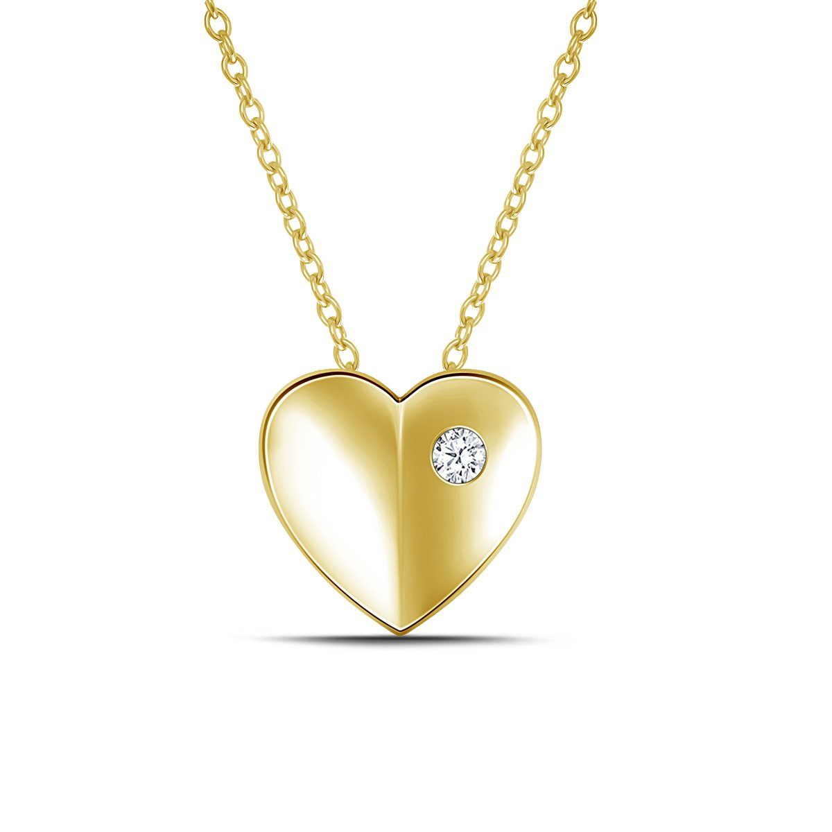 0.05cttw,IJ//I2-I3 18 925 Silver Burnished Diamond Puffed Heart Pendant Necklace