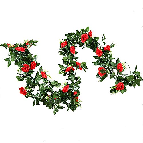 GTIDEA 2PCS 13 Ft Artificial Decorative Rose Vine Silk Floral Hanging Garland Backdrop for Home and Nursery, Wall Hanging, Wedding/Party Decor, Baby Shower Decorations (Red)