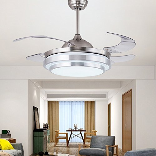 Lights & Lighting Ceiling Fans 220v 42 Inch Modern Simple Ceiling Fans With Lights Remote Control Abs Leaf 3 Colors Change Suit For Office Living Room Parlor Long Performance Life