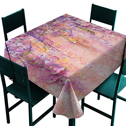 Sunnyhome Spill-Proof Table Cover Flower Watercolor Painting Effect Wisteria Tree Blossoms Soft Scenic Spring Display for Events Party Restaurant Dining Table Cover 60x60 Inch Pink Violet Purple