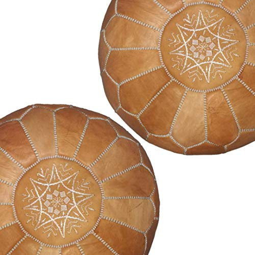 set of 2 handmade leather Moroccan poufs ottoman round footstool color Light Almond Cognac ()