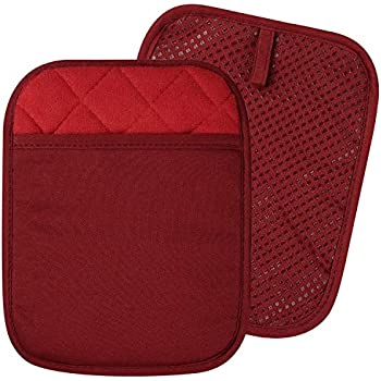 100% Cotton with Silicone Kitchen Everyday Basic Pot Holder Heat Resistant Coaster Potholder Oven Mitts with Pocket for Cooking and Baking Set of 2 Red