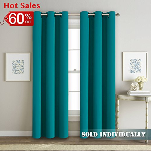 FlamingoP Blackout Teal Energy Saving Home Fashion Thermal Insulated Solid Grommet winter Curtains for Bedroom Boys room (Single Panel, 42 Inch Wide by 84 Inch Long)