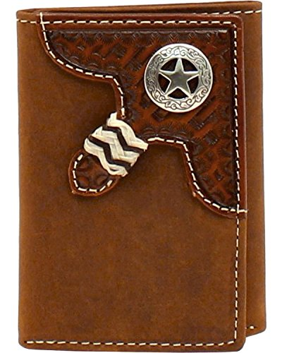 Ariat Men's Nocona Star Concho Basketweave Braid Trifold Wallet Med Brown One (Nocona Mens Concho)