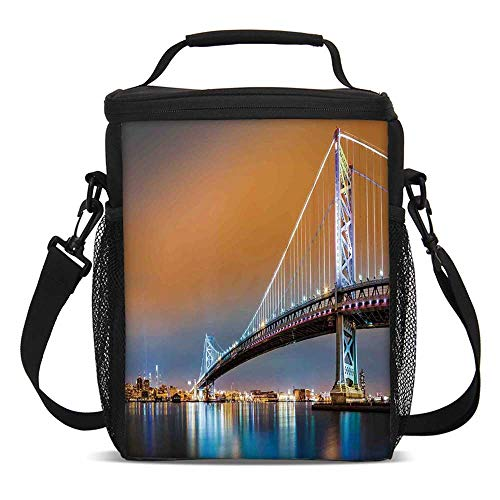 Apartment Decor Fashionable Lunch Bag,Ben Franklin Bridge and Philadelphia Skyline Viewed from Camden Across the Delaware River Decorative for Travel Picnic,One size