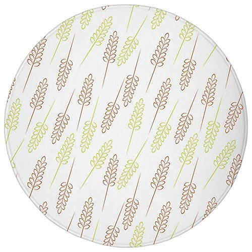 Rug Wheat Autumn - Round Rug Mat Carpet,Harvest,Pattern with Wheat Grain Ears Autumn Organic Food Bread Cereal Decorative,Apple Green Dark Orange White,Flannel Microfiber Non-slip Soft Absorbent,for Kitchen Floor Bathro