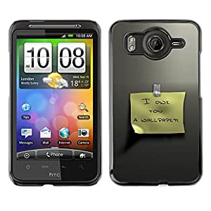 For HTC Desire HD / G10 / inspire 4GCase , Posit Funny Text Sign Yellow Metal - Diseño Patrón Teléfono Caso Cubierta Case Bumper Duro Protección Case Cover Funda